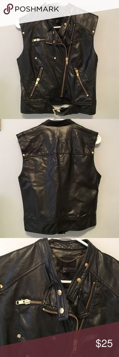 Leather vest This faux leather vest is great for the fall season! With gold details. Never worn but does not have tags H&M Jackets & Coats Vests