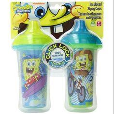 Munchkin SpongeBob SquarePants Click Lock 9 oz Insulated Sippy Cup 2-Pack - Walmart.com
