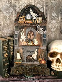 Plays Well With Paper: Repose-itory Part 3 - Til Death Do Us Part Photo Halloween, Halloween Shadow Box, Halloween Tags, Fall Halloween, Halloween Crafts, Happy Halloween, Halloween Decorations, Halloween Party, Halloween Scrapbook