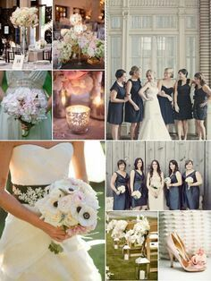 Navy and blush wedding. Love the bride's bouquet and the aisle flowers love the dress for Shannon Wedding Bells, Our Wedding, Dream Wedding, Wedding Stuff, Wedding Color Schemes, Wedding Colors, Colour Schemes, Wedding Designs, Wedding Styles