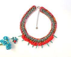 Ibiza necklace, turquoise necklace, pom pom necklace, Africa necklace, tribal necklace, statement bib necklace, boho hippie, gypsy necklace