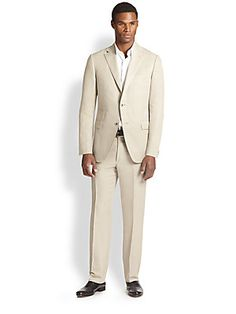 Saks Fifth Avenue Collection Slub Silk & Linen Suit