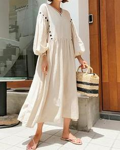 Modest Dresses, Modest Outfits, Casual Dresses For Women, Cute Outfits, Summer Dresses, Clothes For Women, Beige Dresses, Half Sleeve Dresses, Maxi Dress With Sleeves