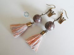 Earrings : Silver, Salmon & Brown Tassel Earrings with Crown
