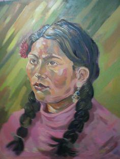 oleo retrato  mujer andina .