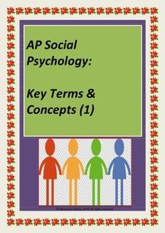 This resource is a student worksheet with the first set of key terms and concepts in Social Psychology which aligns with the AP Psychology course. The answer key is also attached to help both teachers and students with marking!!!  Check out more quality, ready-to-use resources: More from Resources Galore  Follow me on: Pinterest And/or Facebook  CLICK on the green FOLLOW ME button and be the first to know when new resources become available!