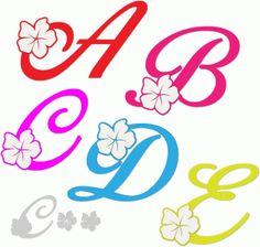Silhouette Design Store - View Design tropical-look alphabet - a-e Fancy Fonts Alphabet, Alphabet Letters Design, Alphabet Templates, Flower Alphabet, Fancy Letters, Alphabet And Numbers, Tattoo Lettering Fonts, Lettering Design, Hand Lettering