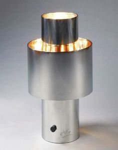 Lamp-RO. Round stainless steel lamp, lined in copper, with dimmer switch
