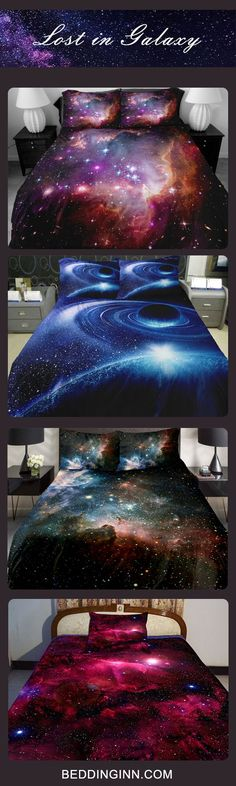 3D galaxy bedding sets for galaxy lovers! Just throw yourself into the amazing space after a day's of hard work.We also have numerous of other items featured in galaxy.Just click to explore more! #bedroom decor