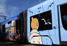"""Le #tramway """"#Tintin - Musée Hergé"""" est sur les rails! The tram """"Tintin - #Hergé Museum"""" is on the rails! """"#Kuifje - Hergé #Museum"""" op de rails! Lijn 94 - Brussels - #Tram line 94 - #Bruxelles ligne 94  #Brussels #Stib #Mivb #Belgique #Belgium #Comics #bd #transport"""