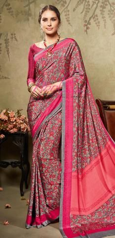 48c12346f2 Printed Crepe Synthetic Saree Grey Floral Design Online BZ5051D77066 Green  Lehenga, Ethenic Wear, Indian