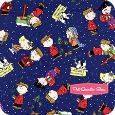 A Charlie Brown Christmas Navy Character Toss Yardage  SKU# 22155-N   A Charlie Brown Christmas by Charles Schulz for Quilting Treasures