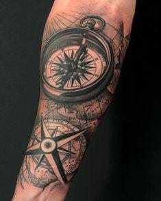 Cool nautical theme tattoo today. #nautical #nauticaltattoo #blackandgreytattoo #compassrose #bishopmagi