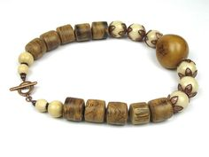 Statement Necklace in Brown with Ivory and Ochre Tagua Nut and