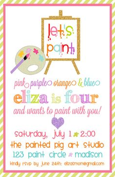 Let's Paint Birthday Party Invitations  Art by pisforpartypapers,