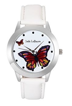 8e90d684ca7db Jade LeBaum Ladies Butterfly Watch White Leather Band Silver Case Reloj de  Mujer -- You can get additional details at the image link.