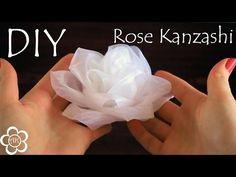Белая роза из органзы / Kanzashi Rose Tutorial - YouTube