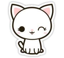 Kawaii white cat Sticker