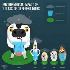 A scientific study checks the environmental impact of different dairy and plant-based milks. Which milk has the smallest impact on the planet? Vegetarian Lifestyle, Going Vegetarian, Going Vegan, Vegan Nutrition, Shakeology Nutrition, Vegan Shakeology, Nutrition Chart, Vegan Facts, How To Become Vegan