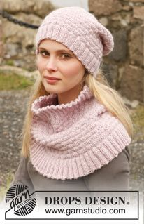 "Knitted DROPS hat and neck warmer in ""Karisma"". ~ DROPS Design"