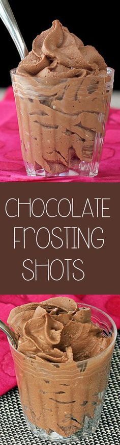 Easy 3 ingredient chocolate frosting shots - from @choccoveredkt... recipe has been repinned over 1 MILLION times, and for good reason! http://chocolatecoveredkatie.com/2012/01/16/chocolate-frosting-shots/