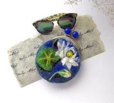 Wet Felted Water lilies FLOWER coin purse Ready to by MSbluesky