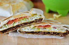 Taco Bell CrunchWrap Supreme (Copycat) Recipe - CrunchWrap Supremes, just like the ones from Taco Bell. Seasoned ground beef, nacho cheese, a crunchy corn tortilla, sour cream, lettuce, and tomato all wrapped inside a large flour tortilla. They're amazing, and naughty, and worth every calorie! --- http://life-in-the-lofthouse.com/taco-bell-crunchwrap-supreme-copycat/