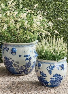 Featuring elegant patterning based on traditional design motifs passed down from antiquity, our Blue Ming Handpainted Ceramic Planters are the perfect addition to your home or garden. Hand-glazed and fashioned from wheel-thrown clay.