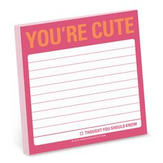Knock Knock You're Cute Sticky Notes are sweet, printed sticky notepads. Fun office supplies make cute Valentine's Day gifts for friends and loved ones!