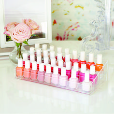 Use our 40-Bottle Acrylic Nail Polish Riser to display all of your favorite and most used polishes.