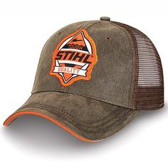 Stihl Orange And Brown Mesh Tough Hat Cap Country Hats, Mesh Cap, Fishing Outfits, Cool Hats, Dad Hats, Derby Hats, Snapback Cap, Hats For Men, Baseball Cap