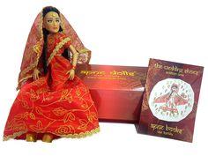Indian wedding lengha doll with free story book. Free Story Books, Free Stories, Indian Dolls, Unique Toys, Long Black Hair, Punjabi Wedding, Red Gold, Wedding Bride, Fashion Dolls