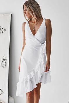 Midi Dress Sale, Midi Dresses, Evening Dresses, Summer Dresses, Vestido Casual, Casual Dresses, Wrap Dress, White Dress, Womens Fashion