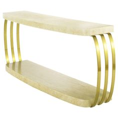 Henredon Post Modern Brushed Brass and Cerused Oak Console Table | 1stdibs.com