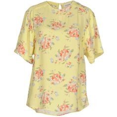 Laurence Bras Blouse ($51) ❤ liked on Polyvore featuring tops, blouses, yellow, yellow top, short sleeve blouse, short sleeve tops, beige top and yellow blouse