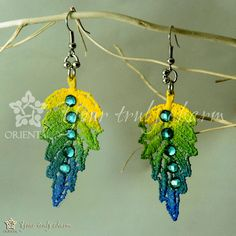 Colorful lace earrings with beads autumn leaf by OrientalColour, $8.00