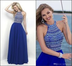 Royal Blue Chiffon Prom Dresses Long 2017 Sexy Halter Backless Crystal Beads Embellished Beaded Sequins Dresses Evening Wear Party Gowns Lavender Prom Dresses Light Pink Prom Dresses From Molly_bridal, $107.57| Dhgate.Com
