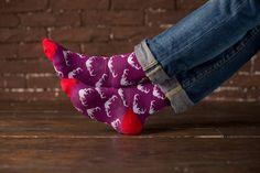 Fioletowe skarpetki - Deer Violet #koloroweskarpety #happysocks #mensocks #fioletoweskarpety #violetsocks