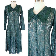 Vintage 90s Gothic Victorian Sheer Lace OverDress Dark Green Corset Tie Back #DawnJoy