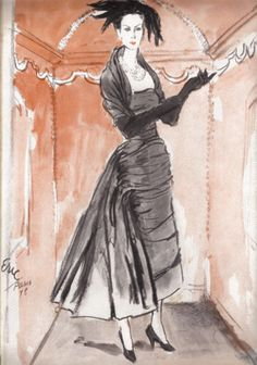 Balenciaga illustration by Carl 'Eric' Erickson from Vogue magazine, October 1948 issue