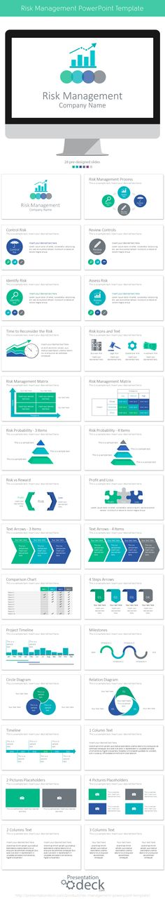 Risk Management PowerPoint Template with 28 pre-designed slides. #powerpoint #presentation #finance