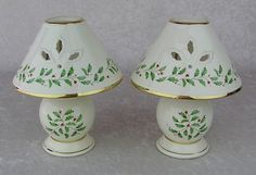 LENOX CHINA-Holiday Dimension-Set of 2 Tea Light Candle Lamps
