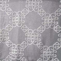 """Laurel Embroidered Linen Style Curtain Panel with white on grey color: semi-sheer : 108"""" or 120"""" inch curtains Featuring a large scale embroidered trellis pattern."""