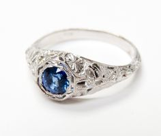 Delicate Details and Diamonds Display a Delicious Deep Blue Sapphire  #Edwardianinspired #Sapphire #Diamond #Details