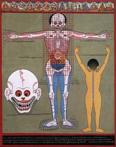 """Tibetan medical tangkas were """"painted by the Nepalese tangka artist Romio Shrestha and his Tibetan, Nepalese, and Bhutanese students in Kathmandu during seven years in the late 1980′s and early 1990′s."""