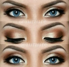 This is a subtle neutral smokey eye done right, and it's perfect for blue eyes.