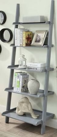 American Heritage Bookshelf Ladder in Gray Finish - Convenience Concepts a classic yet simple design, the American Heritage Bookshelf Ladder will find it's place in any room of the house. Available in multiple finishes, this piece features 5 b Ladder Bookshelf, 5 Shelf Bookcase, Wood Ladder, Bookshelf Styling, Bookshelves, Bedroom Shelves, Ladder Decor, Leaning Ladder Shelf, My Living Room