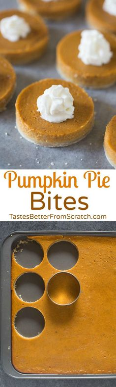 These mini Pumpkin Pie Bites are the perfect bite-size dessert for a crowd! Turn… These mini Pumpkin Pie Bites are the perfect bite-size dessert for a crowd! Turn a pumpkin sheet pie into a fun and festive dessert using just a round cookie cutter! Mini Desserts, Bite Size Desserts, Desserts For A Crowd, Just Desserts, Dessert Recipes, Brunch Ideas For A Crowd, Tropical Desserts, Icebox Desserts, Bite Size Food