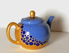 Blue and golden Teapot with ultramarine circles - hand painted