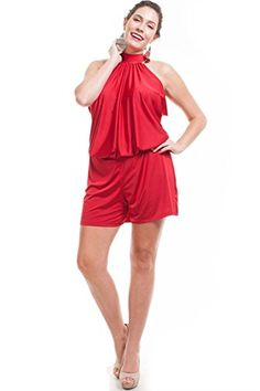 Nyteez Women's Plus Size Short High Neck Romper Jumpsuit (1X, Red) Nyteez http://www.amazon.com/dp/B00VW4IPCS/ref=cm_sw_r_pi_dp_-xWLwb13GZ63J